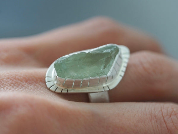 green amethyst statement ring, size 7
