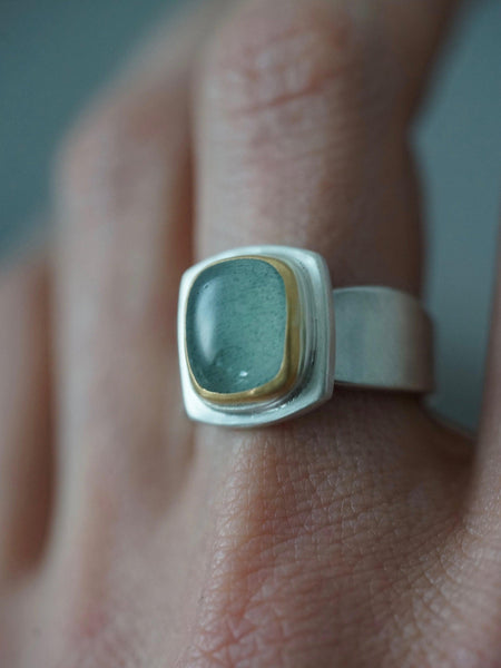 Moss Aquamarine and 22k gold ring, size 7