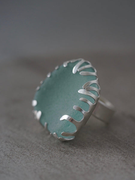 Large sea glass and sterling silver ring, size 8.25
