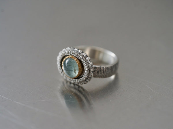 textured aquamarine and gold ring