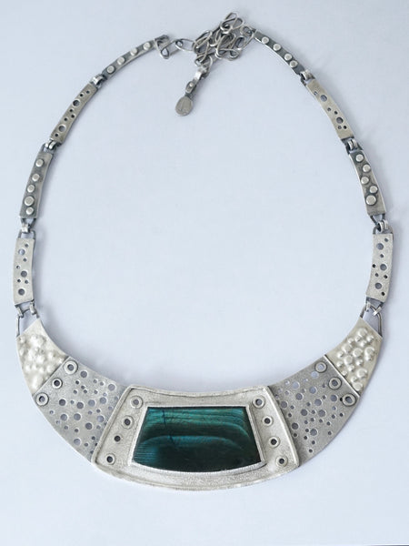 Sterling silver and blue spectrolite necklace