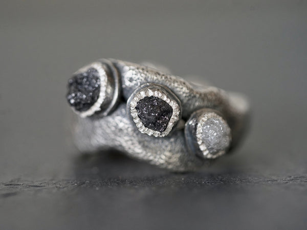 three raw diamonds statement ring, size 6