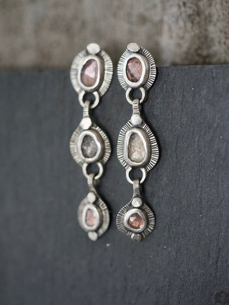 Sterling silver and spinel multistone dangly drop earrings