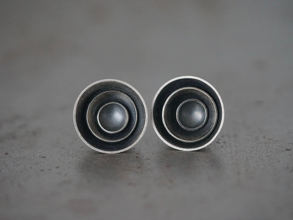Circle in circle sterling silver earrings