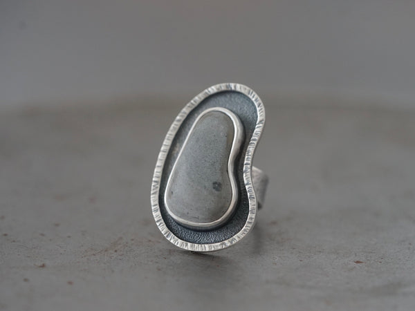 Beach pebble ring, size 7