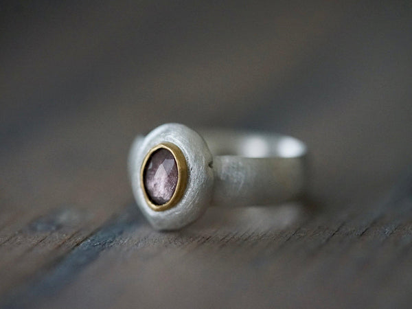 Lavender spinel, sterling silver and 22k gold statement ring, US size 8