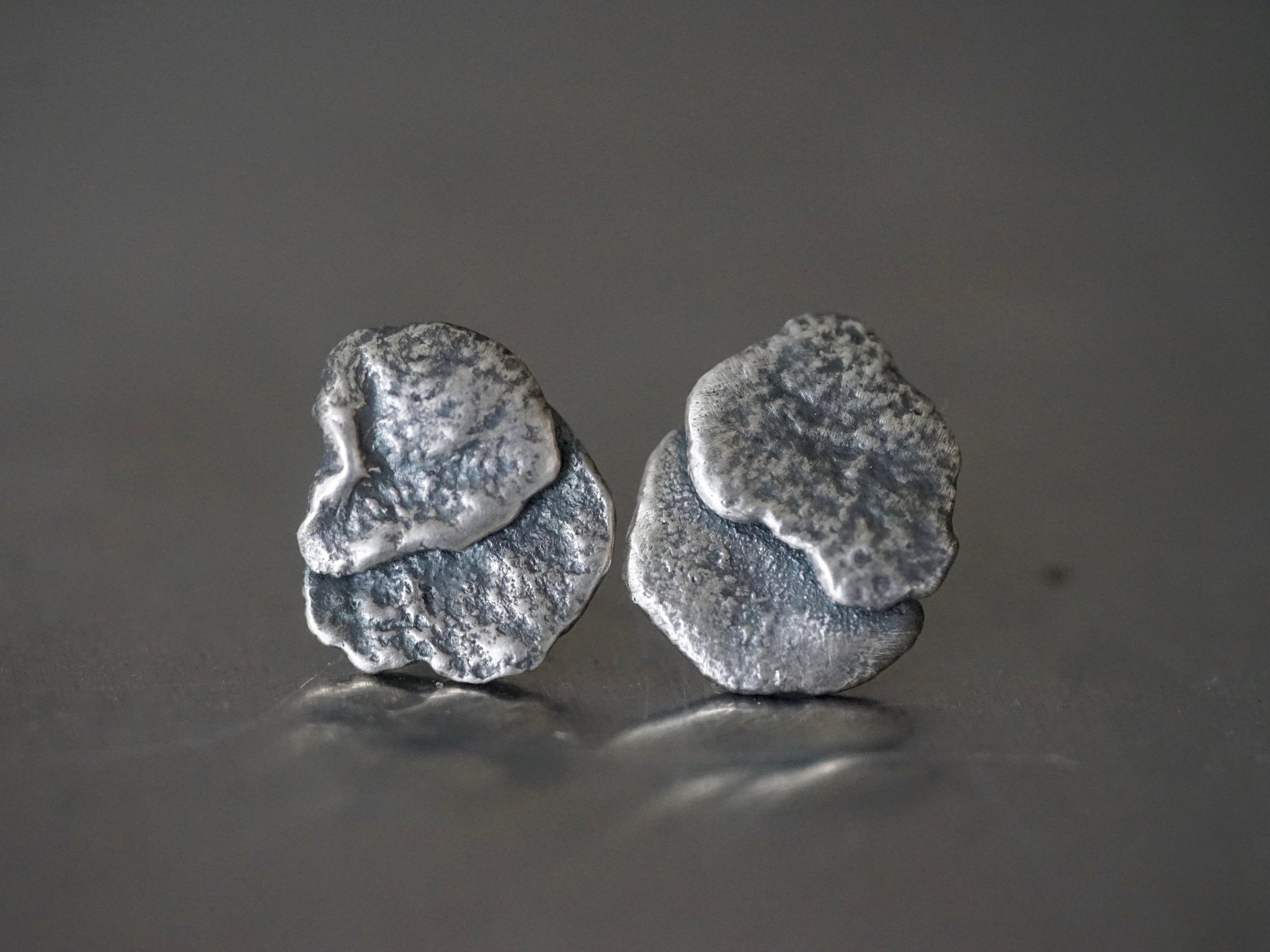 Raw silver stacked post earrings