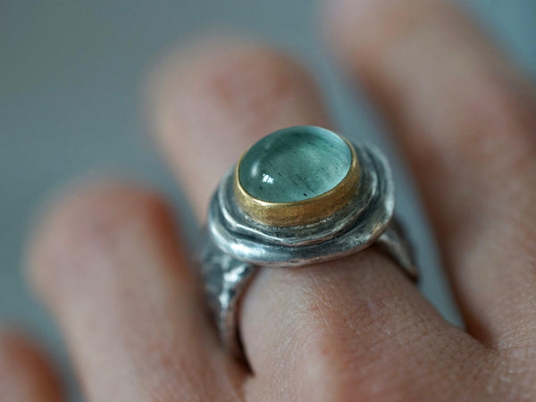 Aquamarine statement ring, 22k gold setting, size 7.25