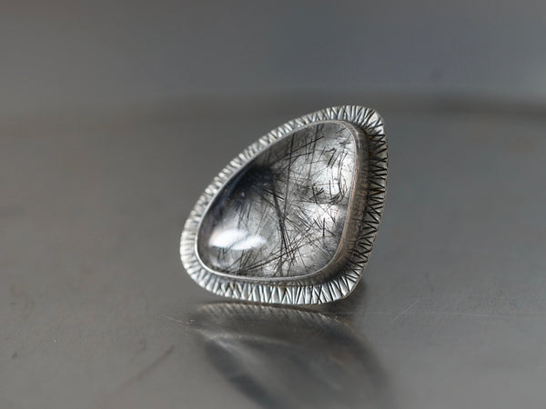 Huge tourmalinated quartz and sterling silver statement ring, size 7.75