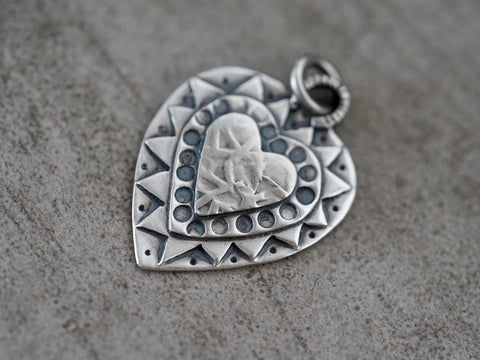 Heart pendant, sterling silver charm