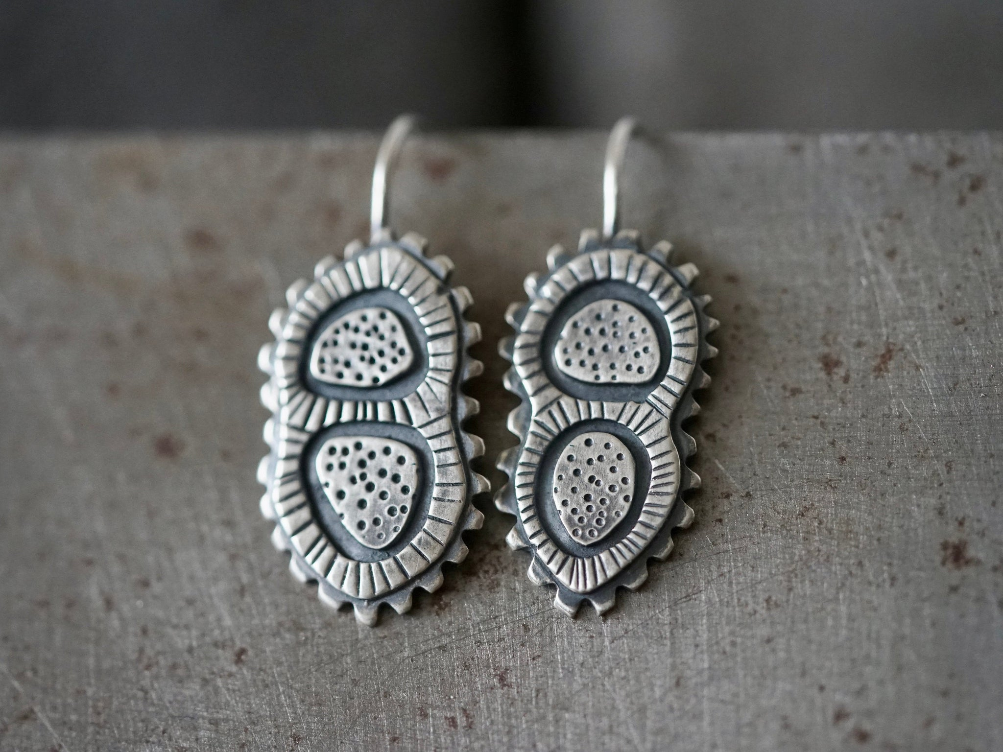 Sterling silver dangly microorganism earrings,