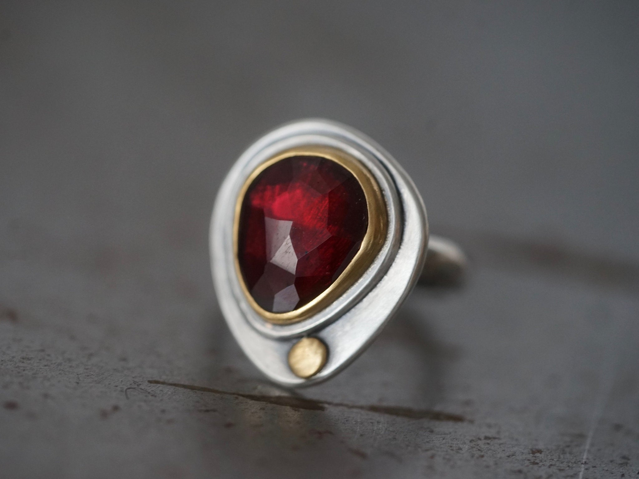 RESERVED for Caroline, deep red rose cut garnet  and 22k gold statement ring, handmade jewellery, exquisite ring, size 6.25, organic jewelry