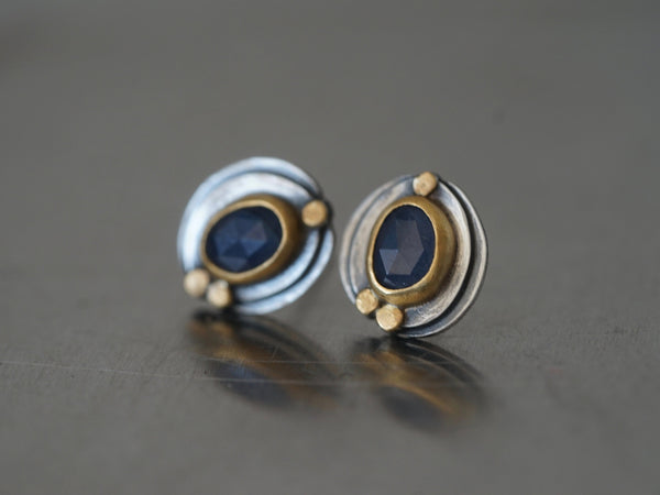 blue sapphire and 22k gold post earrings