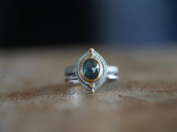 RESERVED FOR JESSICA custom made blue-green sapphire ring seit in 22K gold size 5