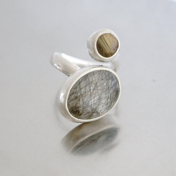 Sterling silver and rutilated quartz spiral ring, size 7.5.