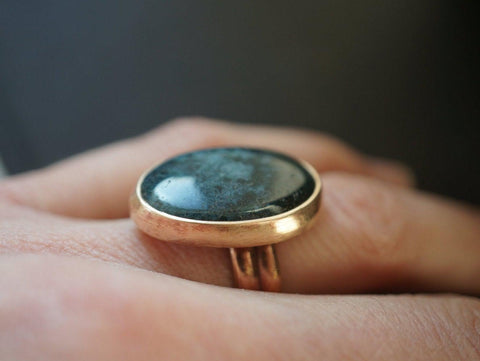 Bronze and moss agate ring, size 6.5