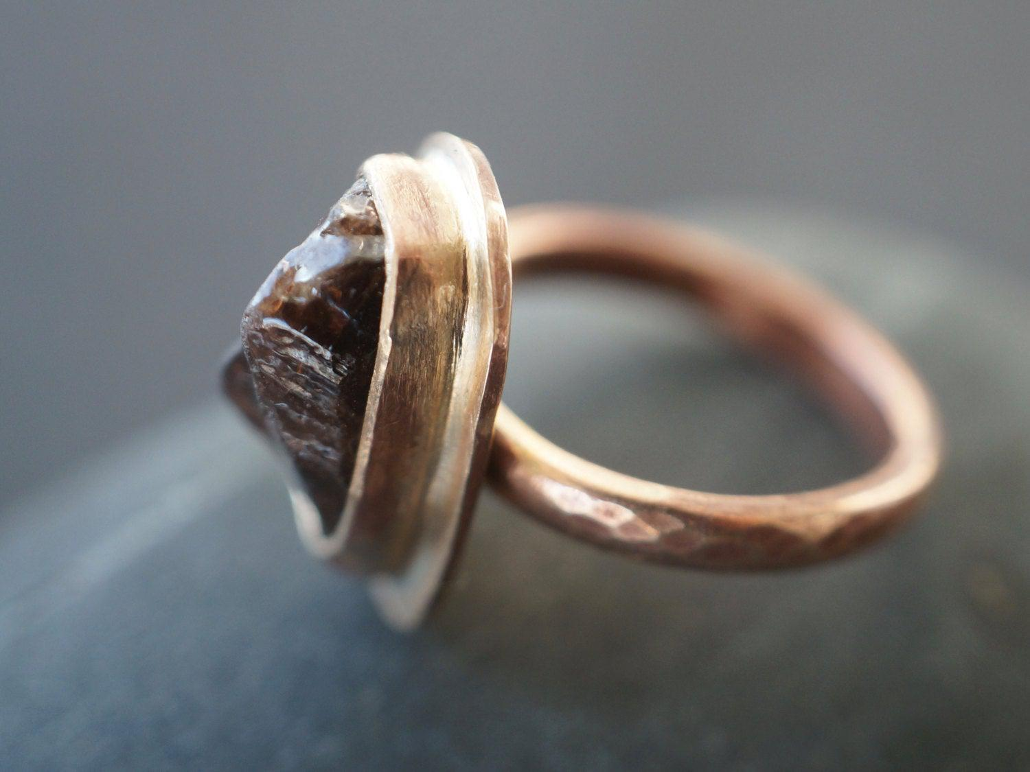 Bronze and rough brown zircon ring, size 7