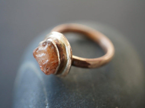 Bronze and rough zircon ring, size 6.25