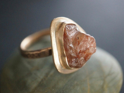 Bronze ring with rough zircon, size 8.25