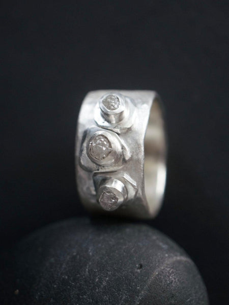Rough diamond and sterling silver ring, size 9