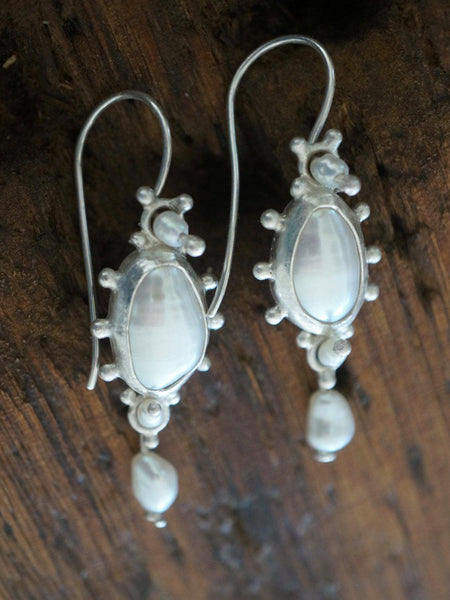 Dangly sterling silver and  freshwater pearl earrings