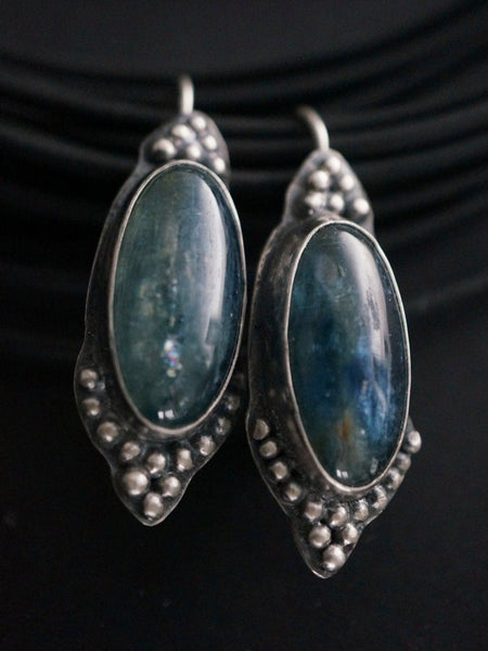 Large kyanite and serling silver earrings