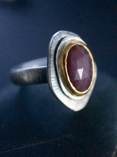 Red sapphire and 24K gold ring, size 6.75