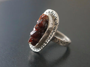 Rough garnet and sterling silver ring, size 7.25
