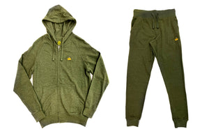 "Crown ""Olive"" Zip Up Hoodie Sweatsuit"
