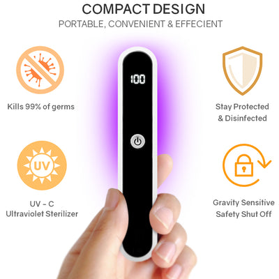 Portable UV Light Sanitizer Wand with Gravity Sensitive Protection