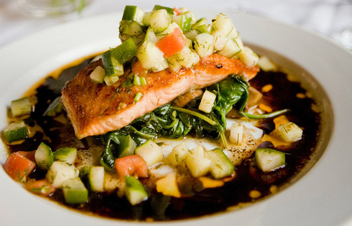 Meal with salmon and zucchini