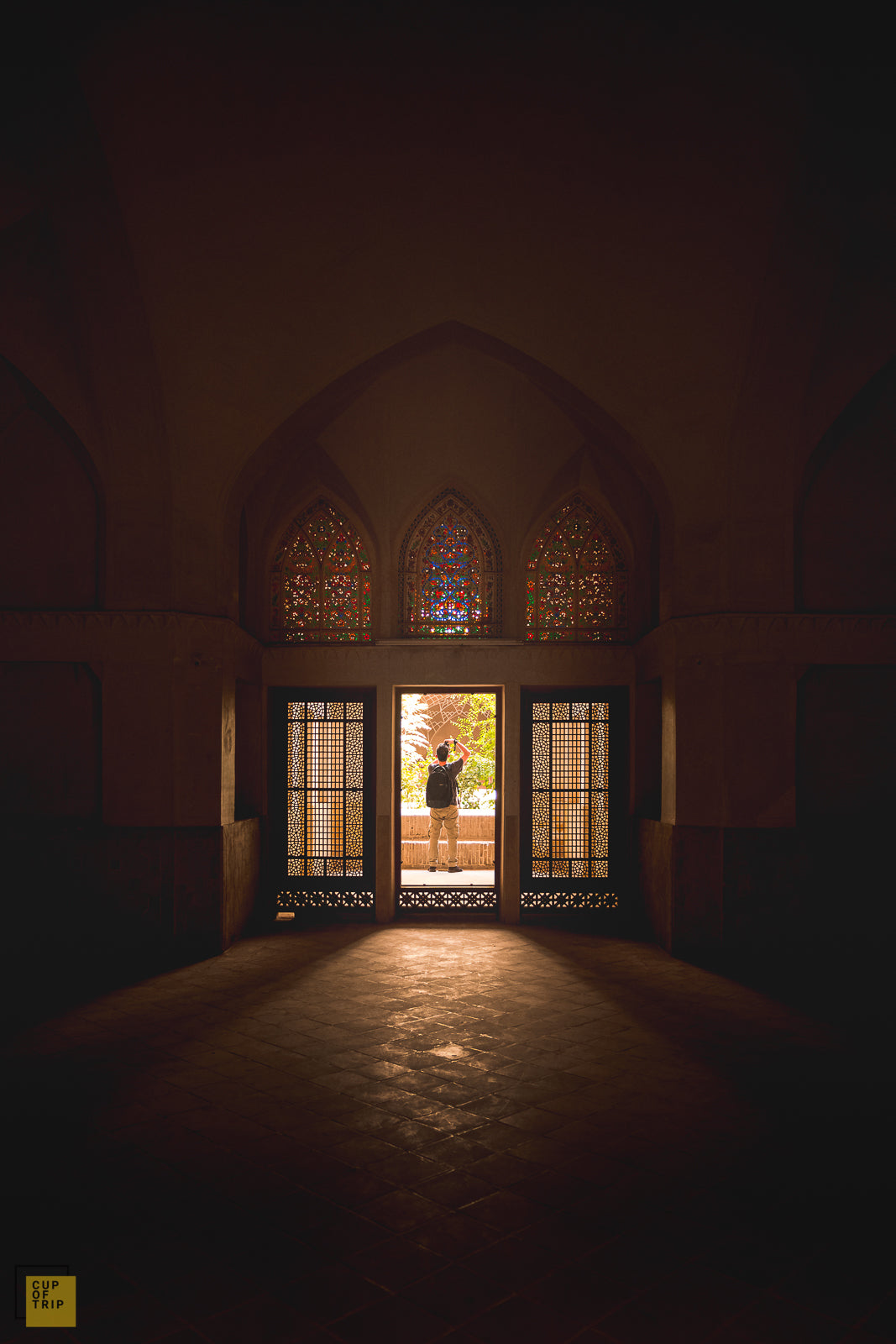 Colorful Windows and Entrance of a Historic House, Kashan