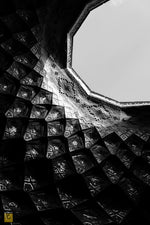 Load image into Gallery viewer, Roof opening of Aminoddole Caravanserai, Kashan - Black & White