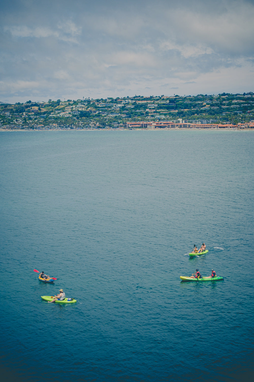 Paddle boarding in La Jolla with View of City