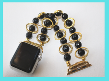 Load image into Gallery viewer, Black Obsidian and Gold Ovals Watch Band for Apple Watch
