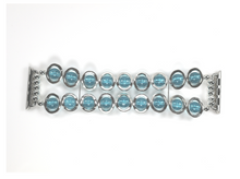 Load image into Gallery viewer, Watch Band for Apple Watch Silver Ovals and Aqua Beads