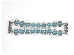 Watch Band for Apple Watch Silver Ovals and Aqua Beads