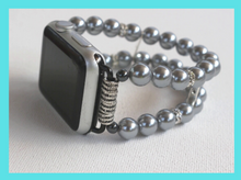 Load image into Gallery viewer, Watch Band for Apple Watch, Gray Pearls and Rhinestones