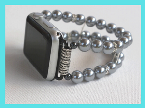 Watch Band for Apple Watch, Gray Pearls and Rhinestones