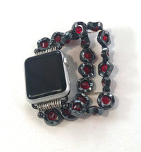 Load image into Gallery viewer, Wavy Hematite and Red Crystals Watch Band for Apple Watch