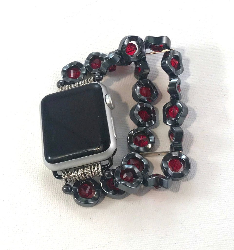 Wavy Hematite and Red Crystals Watch Band for Apple Watch