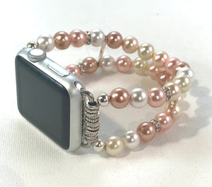 Floral and White Shell Pearls Watch Band for Apple Watch