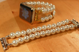 Watch Band for Apple Watch, White Pearls