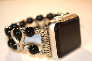 Black Onyx and S Bar Watch Band for Apple Watch
