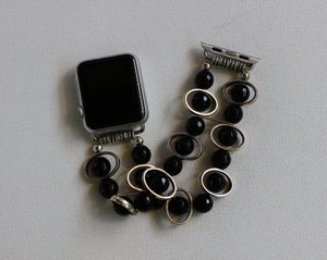 Black Obsidian and Silver Ovals Watch Band for Apple Watch