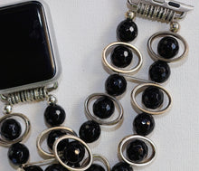 Load image into Gallery viewer, Black Obsidian and Silver Ovals Watch Band for Apple Watch
