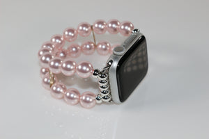 Pink Watch Band for Apple Watch, Pink Swarovski Glass Pearl Apple Watch Band Bracelet