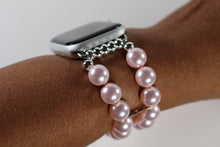Load image into Gallery viewer, Pink Watch Band for Apple Watch, Pink Swarovski Glass Pearl Apple Watch Band Bracelet
