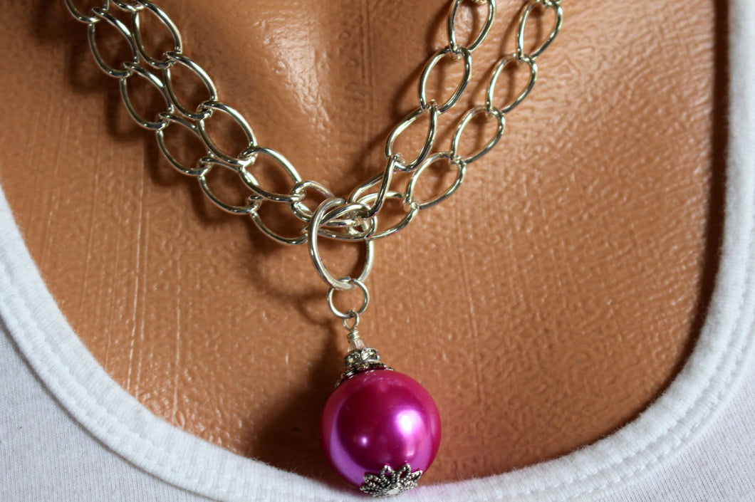 HOT PINK Necklace, Pink Drop Pendant Necklace