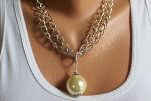 Cream Drop Pendant Necklace